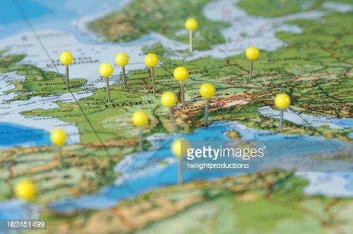 Pins in a Map of Europe : Stock Photo