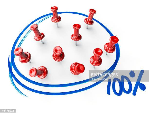 Pins within a blue marker circle