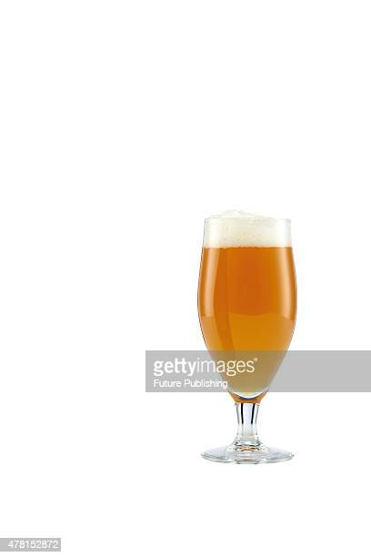 A pint glass filled with Epic Saison ale on September 4 2013