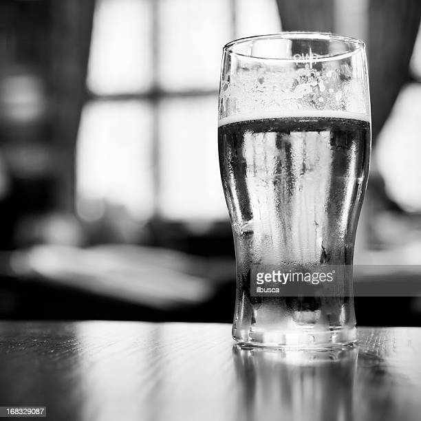 Pint of beer in British pub