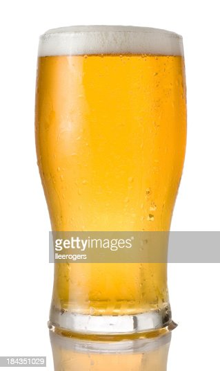 Pint of beer on a white background