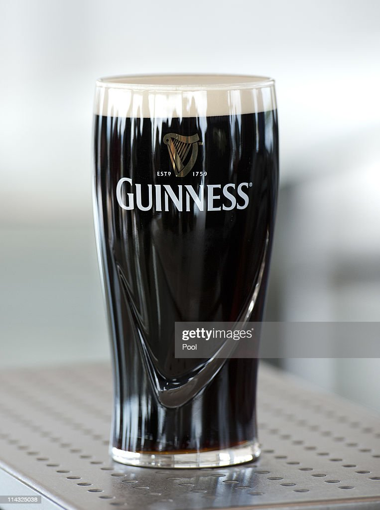 A pint of Guinness is seen during a visit by Queen Elizabeth II and Prince Philip Duke of Edinburgh to the Guinness Storehouse on May 18 2011 in...