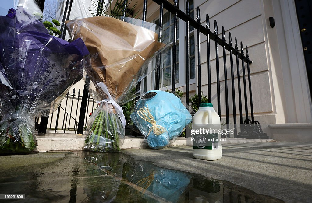 A pint of milk is left outside the residence of Baroness Thatcher in Chester Square in reference to her time as Education Secretary when she imposed spending cuts that included the removal of free milk for the over-sevens in school on April 8, 2013 in London, England. Lord Bell, spokesperson for Baroness Margaret Thatcher, announced in a statement that the former British Prime Minister died peacefully following a stroke on 8th April, aged 87.