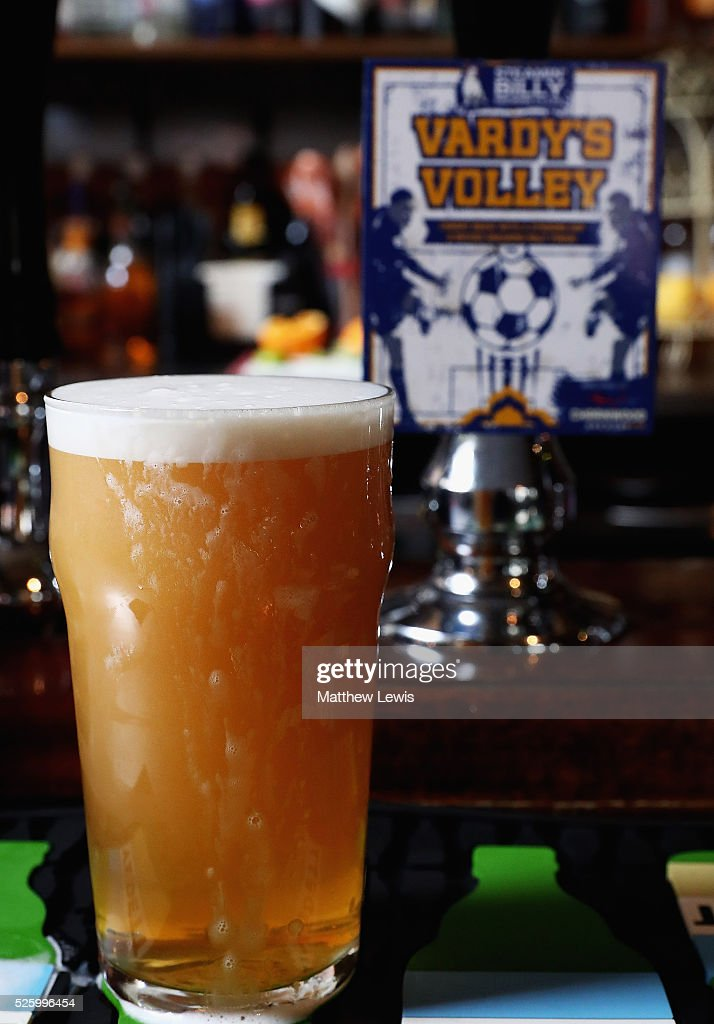 A pint of 'Vardy's Volley' is pictured at the Steamin Billy Parcel Yard pub', as they show their support towards Leicester City FC during a Leicester Backing the Blues Campaign in support of Leicester City on April 29, 2016 in Leicester, England.