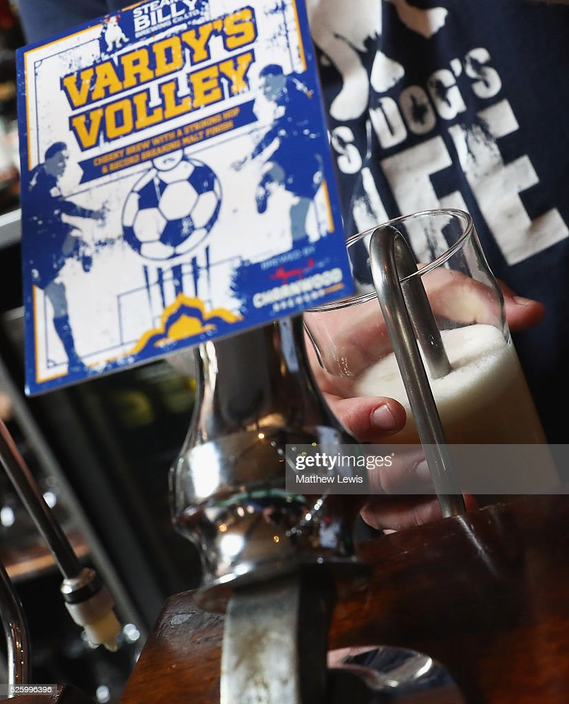 A pint of 'Vardy's Volley' is pulled at the Steamin Billy Parcel Yard pub', as they show their support towards Leicester City FC during a Leicester Backing the Blues Campaign in support of Leicester City on April 29, 2016 in Leicester, England.
