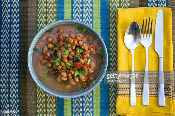 Pinto beans and silverware