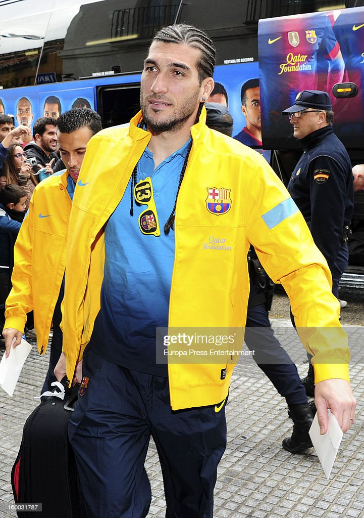 Pinto is seen arriving at hotel before the match against Malaga CF for the Copa del Rey Quarter Final on January 24, 2013 in Malaga, Spain.