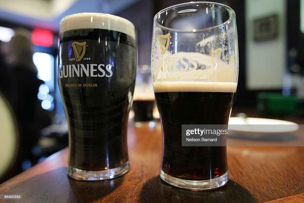 Pints of Guinness on display as the iconic beer brand reignites efforts to make St Patrick's day a national holiday at The Perfect Pint II on March...