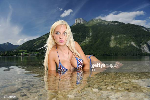 Pin-up Beach Shot infront of Alps Panorama (XXXL)
