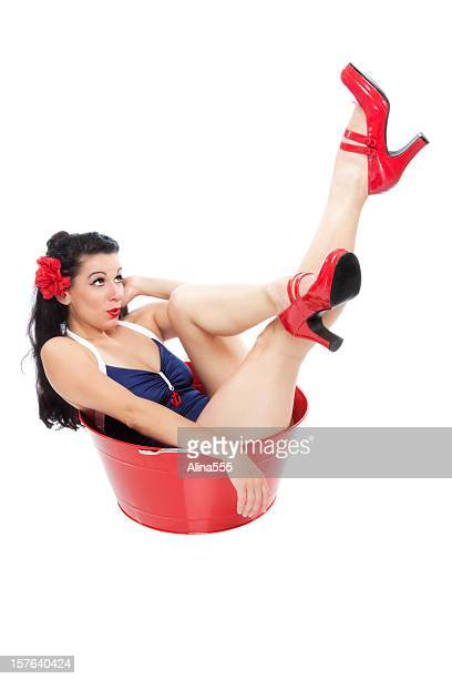 Pin-up girl: classic vintage beautiful woman in a washtab