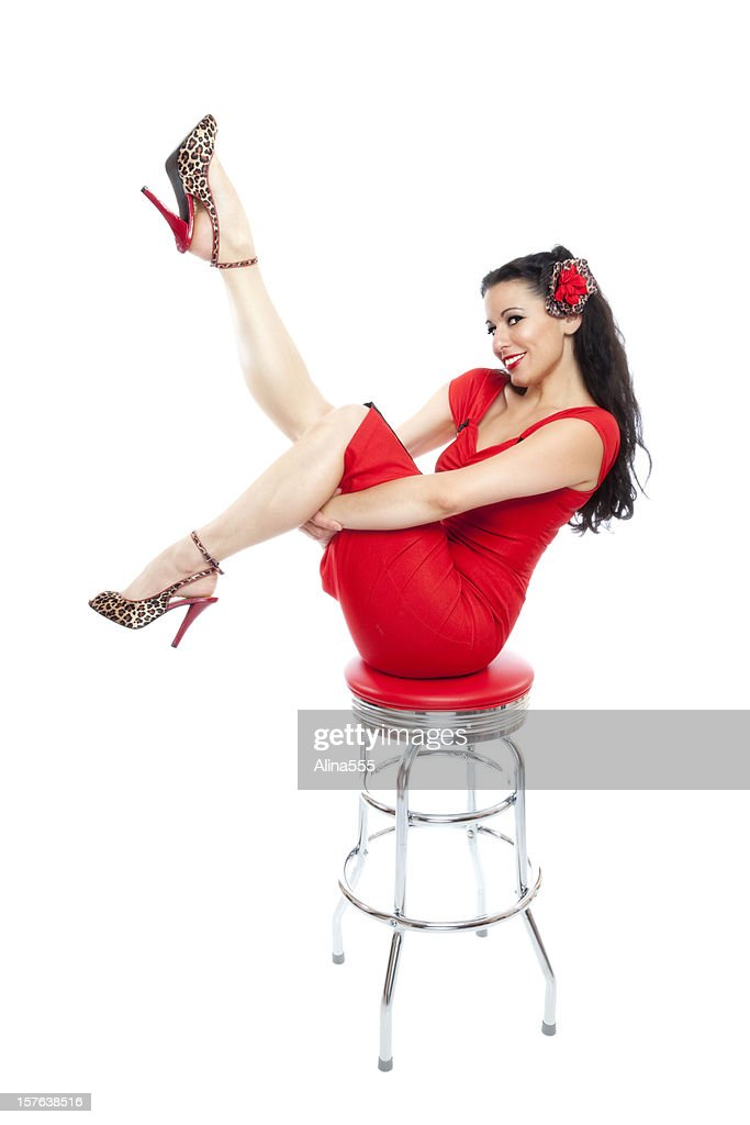 Pinup Girl Classic Vintage Beautiful Woman On Bar Stool