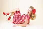 Pin-Up Girl in Red Polka Dot Dress