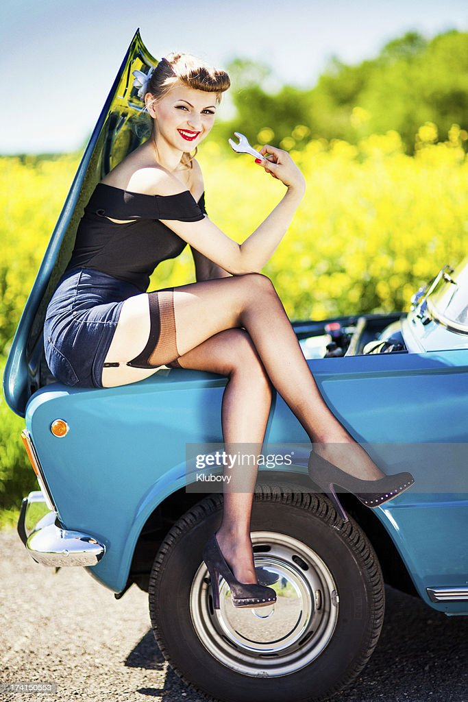 Pinup Girl With Car Stock Photo | Getty Images