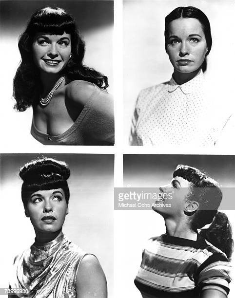 Pinup model Bettie Page poses for a tetraptych of portraits in circa 1952