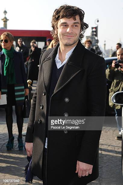 Pio Marmai arrives for the Balenciaga Ready to Wear Autumn/Winter 2011/2012 show during Paris Fashion Week on March 3 2011 in Paris France