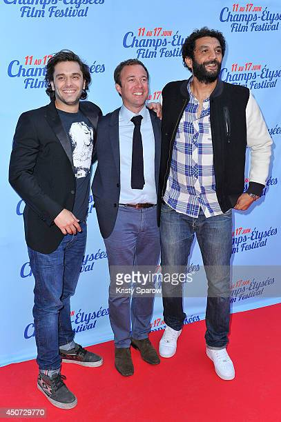 Pio Marmai guest and Ramzy attend the Des Lendemains Qui Chantent Paris Premiere during Day 6 of the Champs Elysees Film Festival on June 16 2014 in...
