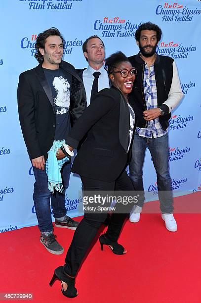 Pio Marmai guest Claudia Tagbo and Ramzy attend the Des Lendemains Qui Chantent Paris Premiere during Day 6 of the Champs Elysees Film Festival on...