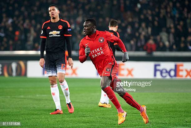 Pione Sisto of FC Midtjylland celebrates after scoring their first goal during the UEFA Europa League match between FC Midtjylland and Manchester...