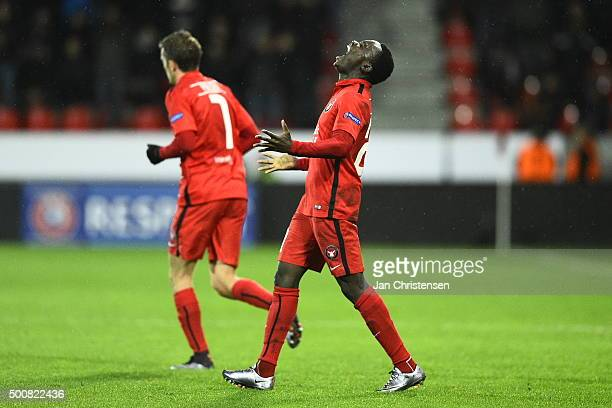 Pione Sisto of FC Midtjylland celebrating his 10 goal during the UEFA Europa League Group Play match between FC Midtjylland and Club Brugge at MCH...