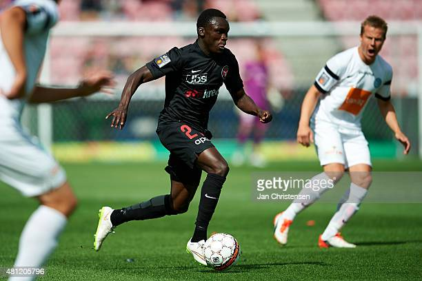 Pione Sisto of FC Midtjylland controls the ball during the Danish Alka Superliga match between FC Midtjylland and Viborg FF at MCH Arena on July 18...