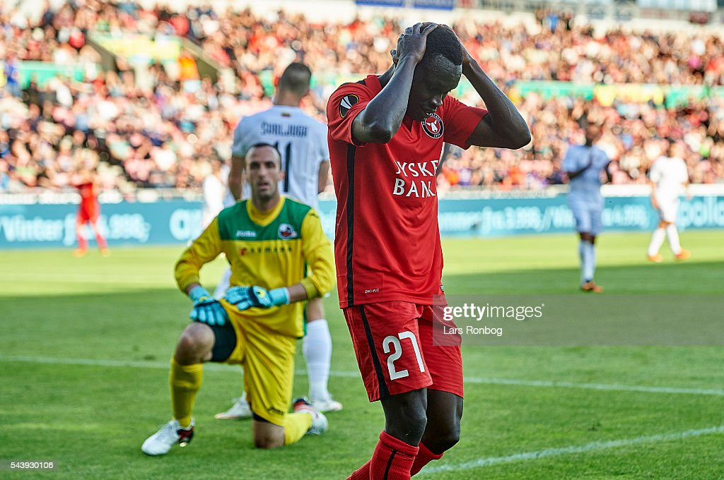 Pione Sisto of FC Midtjylland looks dejected during the Europa League Qualifier match between FC Midtjylland and FK Suduva at MCH Arena on June 30, 2016 in Herning, Denmark.