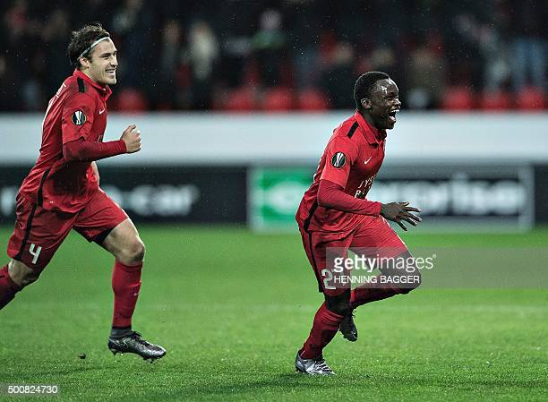 Pione Sisto of FC Midtjylland reacts after scoring against Club Brugge during the UEFA Europa League group D football match between FC Midtjylland vs...