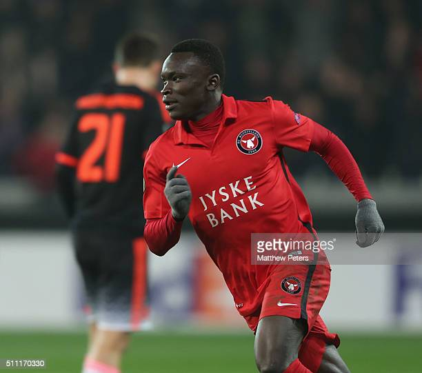 Pione Sisto of FC Midtjylland scelebrates scoring their first goal during the UEFA Europe League match between FC Midtjylland and Manchester United...