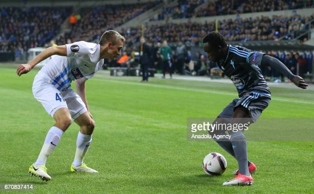 Pione Sisto of of Celta Vigo is in action during the UEFA Europa League quarter final second leg match between KRC Genk and Celta Vigo at Luminus...
