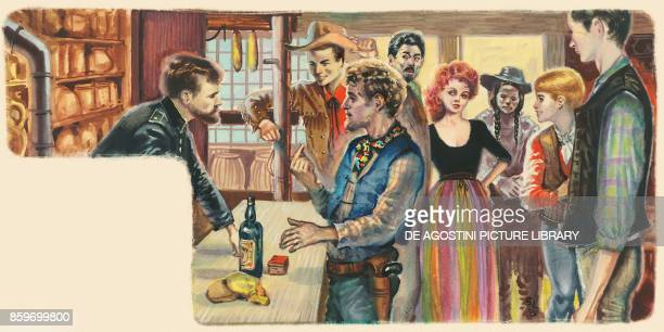 Pioneer at the bar counter of a saloon Old West North America drawing