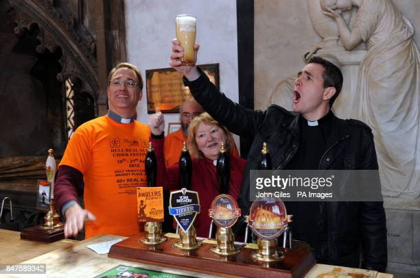 Pioneer Minister Rev Matt Woodcock samples one of the first pints as he is joined by the Rev Dr Neal Barnes and Rev Irene Wilson at the Hull Beer...