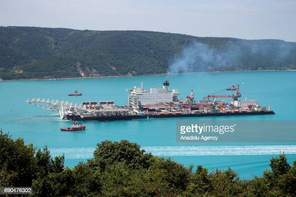 'Pioneering Spirit' a pipelayer and construction vessel passes through Bosphorus on its way to Anapa Port of Russia where it will work on the...