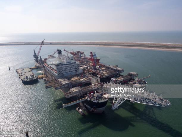 Pioneering Spirit is seen at the construction site of TurkStream and Russian company Gazprom gas pipelines offshore of Anapa city in the Black Sea on...