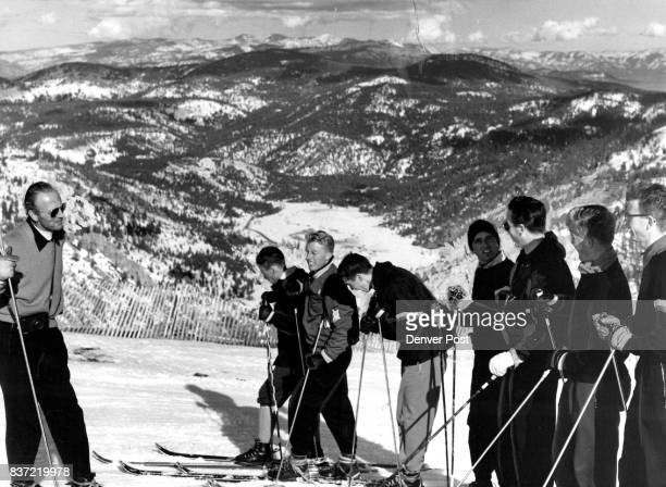 Pioneers Inspect Olympic Ski Course Willy Schaeffler who knows more than any other man about the prospective downhill course for the 1960 Olympics...