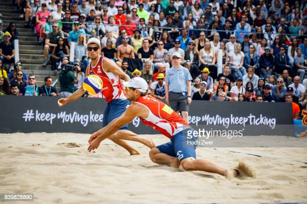 Piotr Kantor and Bartosz Losiak of Poland in action during Day 5 of the Swatch Beach Volleyball FIVB World Tour Finals Hamburg 2017 on August 27 2017...