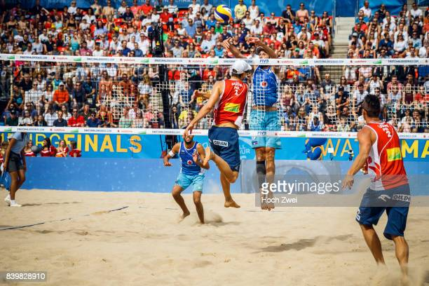 Piotr Kantor of Poland competes against Paolo Nicolai of Italy during Day 5 of the Swatch Beach Volleyball FIVB World Tour Finals Hamburg 2017 on...