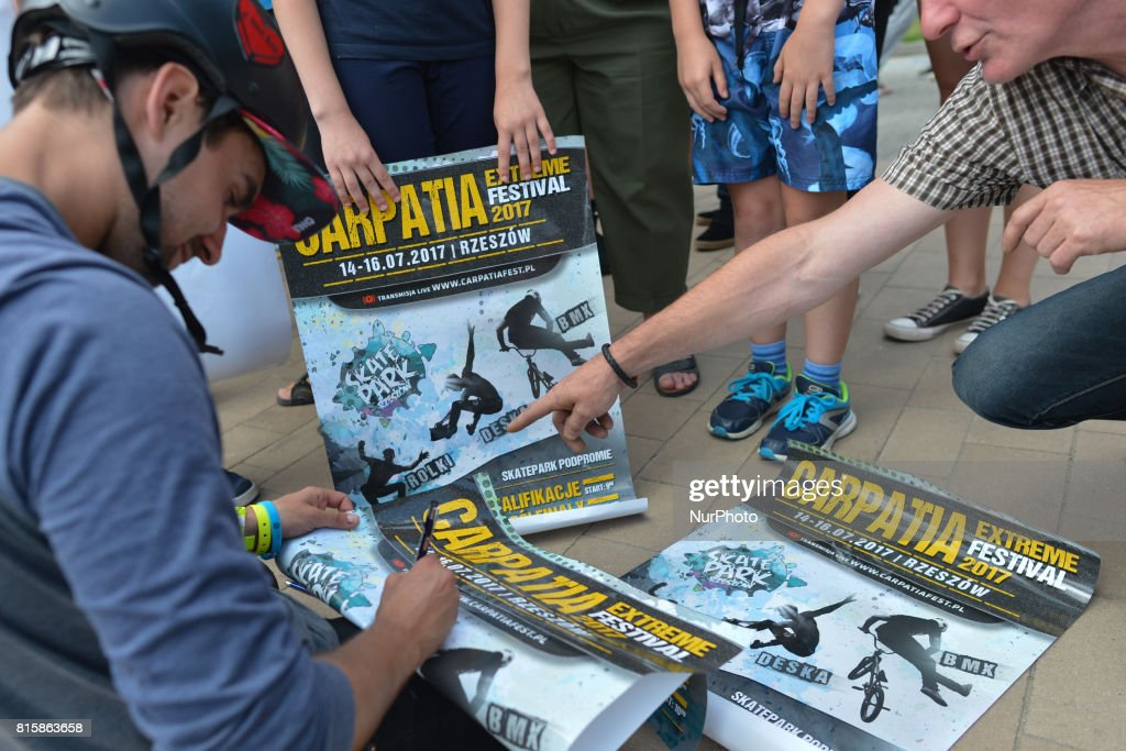 Piotr Kombrzynski signs autographs at the end of Rollerblading final, on the final day of Carpatia Extreme Festival 2017, in Rzeszow. On Sunday, July 16, 2017, in Rzeszow, Poland.