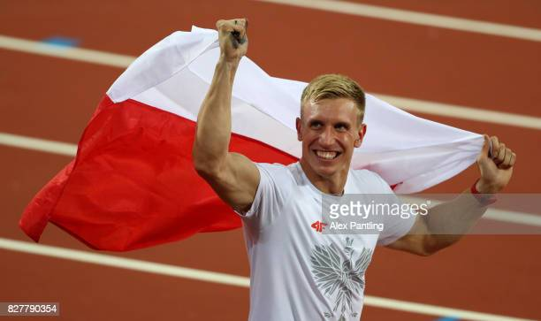 Piotr Lisek of Poland silver celebrates after the Men's Pole Vault final during day five of the 16th IAAF World Athletics Championships London 2017...