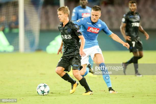 Piotr Sebastian Zieliski midfielder Napoli and Vincent Koziello midfielder of Nice during the match between SSC Napoli and OGC Nice to qualify for...