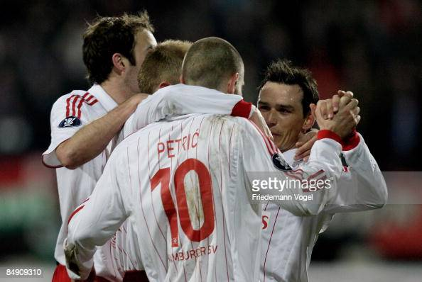 Piotr Trochowski of Hamburg celebrates scoring the first goal with Mladen Petric during the UEFA Cup match between NEC Nijmegen and Hamburger SV at...