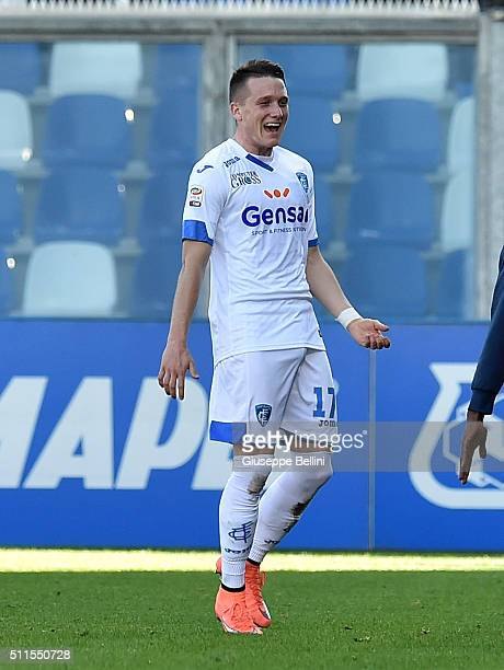 Piotr Zelinski of Empoli celebrates after scoring the opening goal during the Serie A match between US Sassuolo Calcio and Empoli FC at Mapei Stadium...