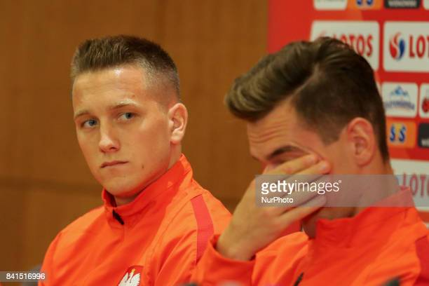 Piotr Zielinski and Arkadiusz Milik of Poland during press conference before FIFA World Cup 2018 qualifier MD1 between Denmark and Poland at Parken...