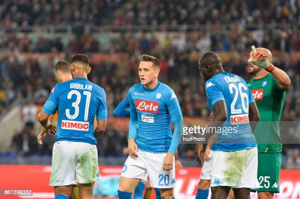 Piotr Zielinski during the Italian Serie A football match between AS Roma and SSC Napoli at the Olympic Stadium in Rome on october 14 2017