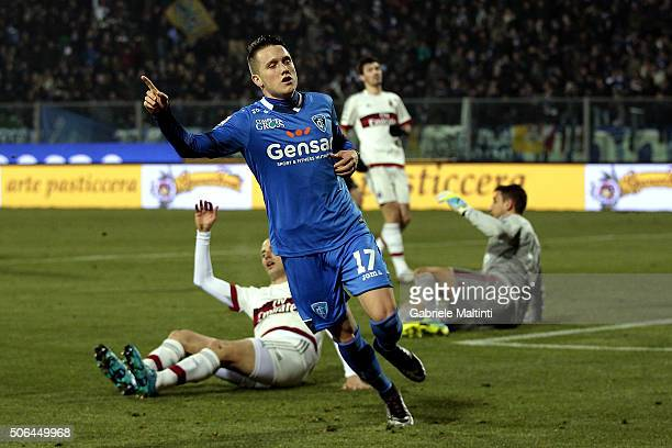 Piotr Zielinski of Empoli FC celebrates after scoring a goal during the Serie A match between Empoli FC and AC Milan at Stadio Carlo Castellani on...