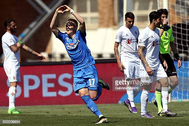 Piotr Zielinski of Empoli FC celebrates after scoring a goal during the Serie A match between Empoli FC and ACF Fiorentina at Stadio Carlo Castellani...