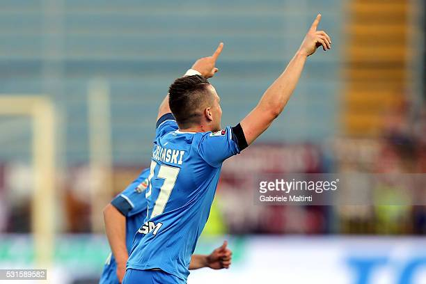 Piotr Zielinski of Empoli FC celebrates after scoring a goal during the Serie A match between Empoli FC and Torino FC at Stadio Carlo Castellani on...