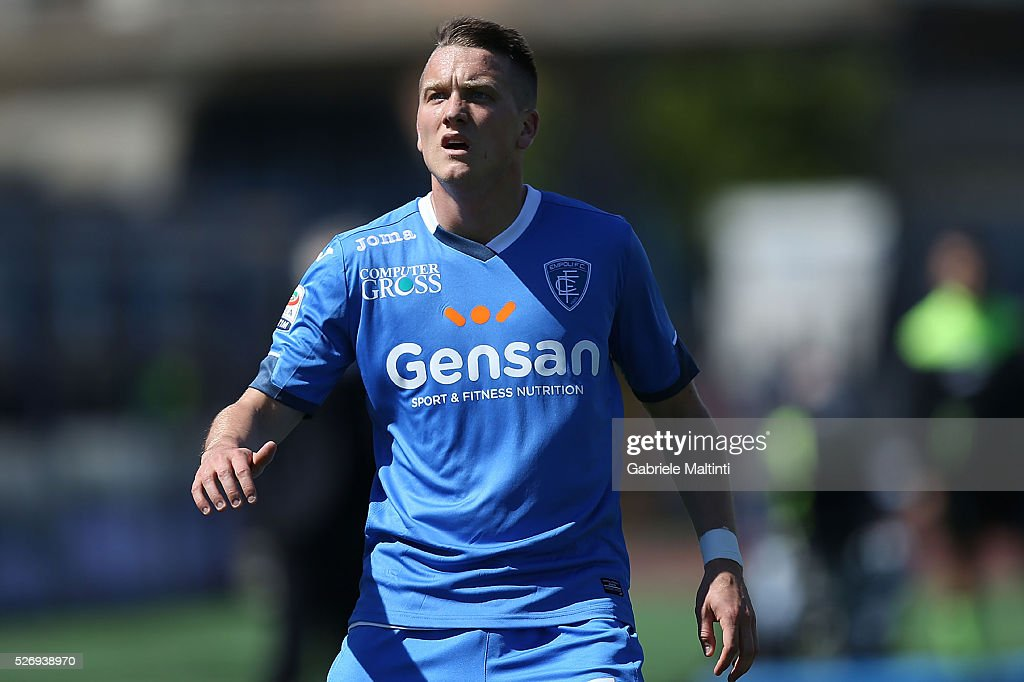 Piotr Zielinski of Empoli FC looks on during the Serie A match between Empoli FC and Bologna FC at Stadio Carlo Castellani on May 1, 2016 in Empoli, Italy.