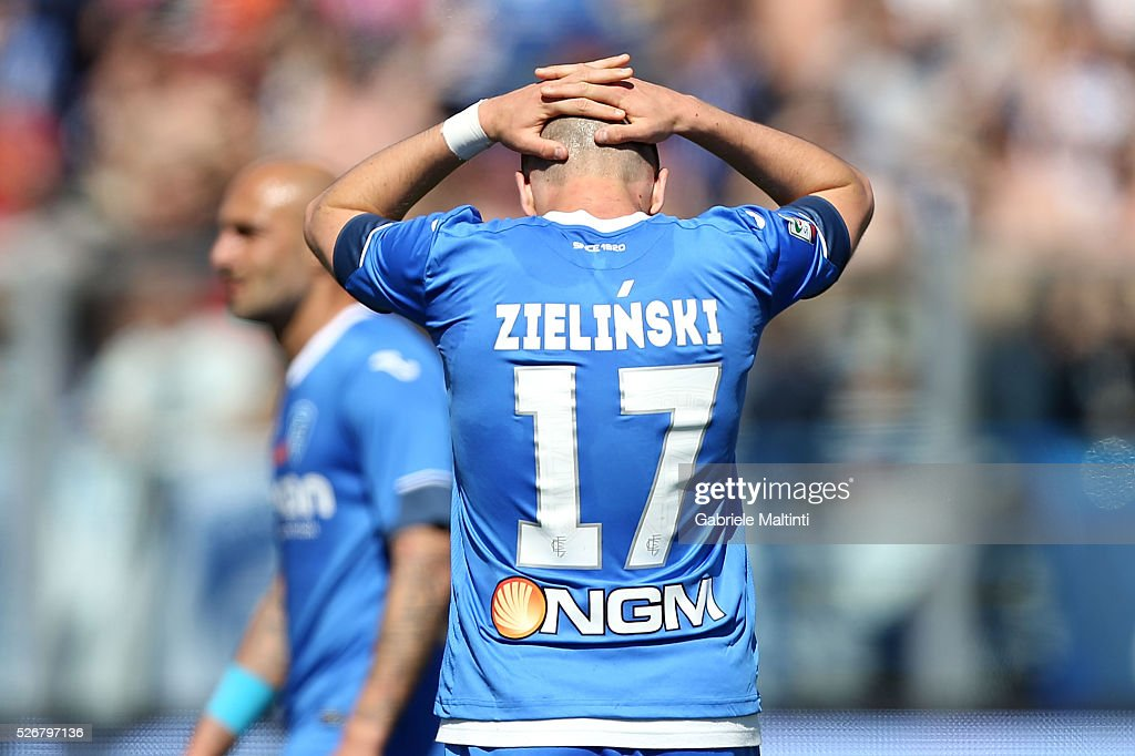 Piotr Zielinski of Empoli FC reacts during the Serie A match between Empoli FC and Bologna FC at Stadio Carlo Castellani on May 1, 2016 in Empoli, Italy.