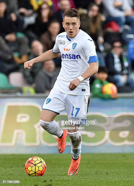 Piotr Zielinski of Empoli in action during the Serie A match between US Sassuolo Calcio and Empoli FC at Mapei Stadium Città del Tricolore on...