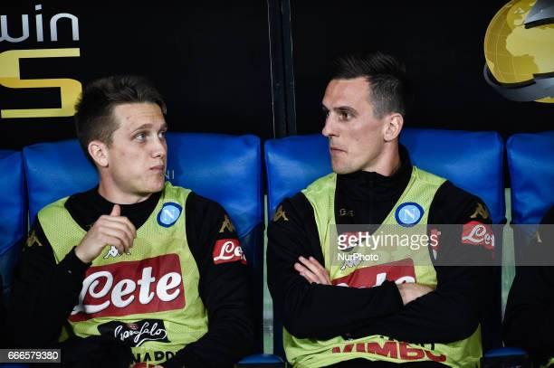Piotr Zielinski of Napoli and Arkadiusz Milik of Napoli during the Serie A match between Lazio and Napoli at Stadio Olimpico Rome Italy on 9 April...