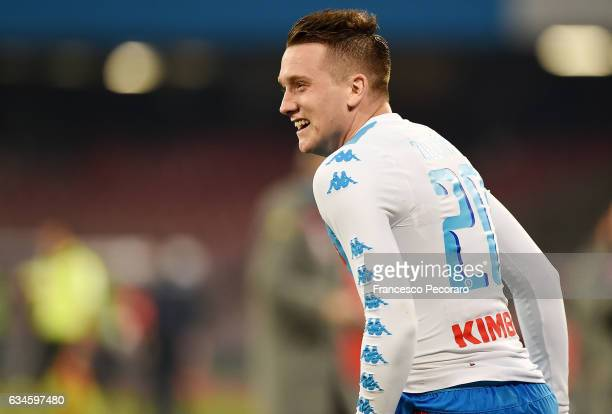 Piotr Zielinski of Napoli celebrates after scoring goal 10 during the Serie A match between SSC Napoli and Genoa CFC at Stadio San Paolo on February...